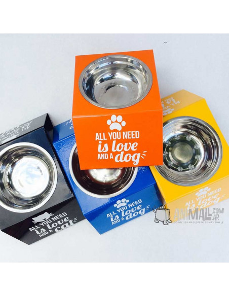 Comedero Elevado All You Need Is Love & Dog or Cat