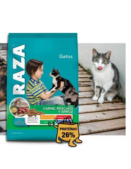 Raza gatos adultos sabor carne, pescado y arroz x 10 kg