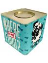 Lata Contenedora Alimento Balanceado Vintage Dog Celeste x 5 kg