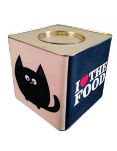 Lata Contenedora Alimento Balanceado Vintage Cat Negra y Blanca x 5 kg