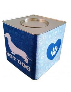 Lata Contenedora Alimento Balanceado Vintage Dog Salchicha Azul x 5 kg