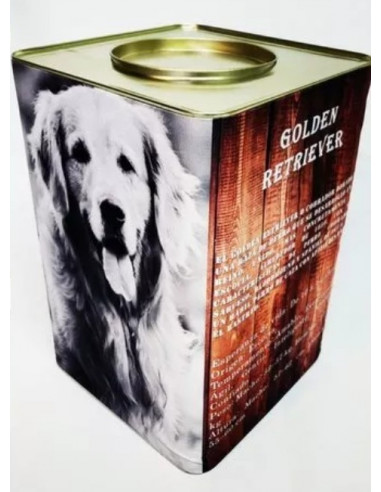 Golden Retriever Lata Contenedora Alimento Gold x 7.5 kg