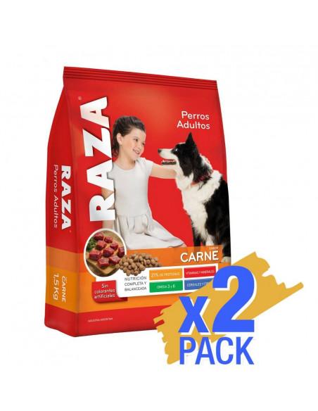 Pack x 2 unidades Raza Perros Adultos sabor Carne x15Kg
