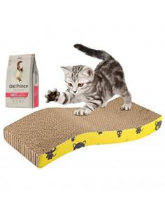 Rascador Para Gatos Forma de Onda con Hierba Gatera + 1 Old Prince Gato Adultos x 1 kg