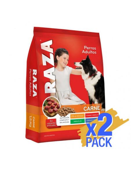 Pack x 2 unidades Raza Perros Adultos sabor Carne x 8Kg