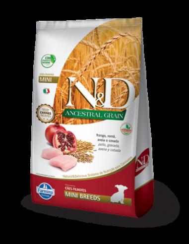 N&D ANCESTRAL GRAIN CANINE PUPPY MINI POLLO Y GRANADA x 2.5kg